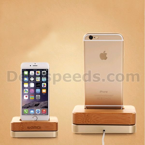 Samdi Metal+ Beech Wood Charging Dock for Phone, Mobile Stand, Mobile Charging Holder