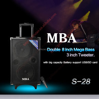 dual 8 inch woofer and 3 inch tweeter speaker with bluetooth