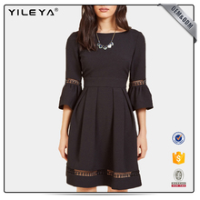 Mid length sleeve and pleated western style dresses manufacturer fashion ,ladies clothing free size women factory dresses