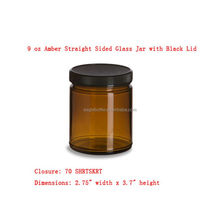 9 oz Cosmetic Amber Straight Sided Glass Jar with Black Lid