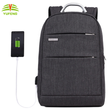 14' Promotional large capacity student bag waterproof Polyester laptop shoulder backpack with USB Charging Port for Men