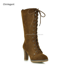 China Manufacturer Women's khaki Winter Mid Calf High HeelLace Up Buckles Military Combat Boot