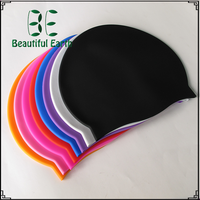 Custom printed 100% silicone waterproof swimming caps