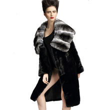 QD29200 Winter High Quality Women Coat Cloth Whole-hide Real Chinchilla Fur Collar Women Cloth Danmark Mink Fur Coat