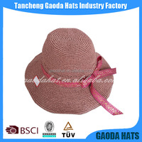 Elegant individual trendy fashion lady derby raffia straw summer hats