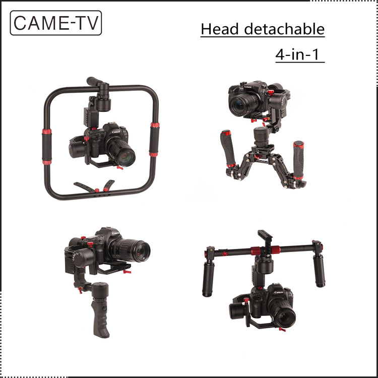 The Newest Best Handheld gimbal CAME-TV 3 Axis 4 in 1 DSLR Camera Gimbal Stabilizer for Canon 5D Mark iv With Detachable Head