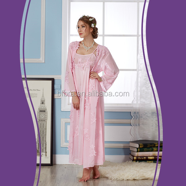 Wholesale high quality 100% polyester pink cheap girls satin nightgowns