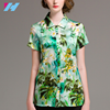 2017 new listing real silk short sleeve office women blouse casual floral print shirt
