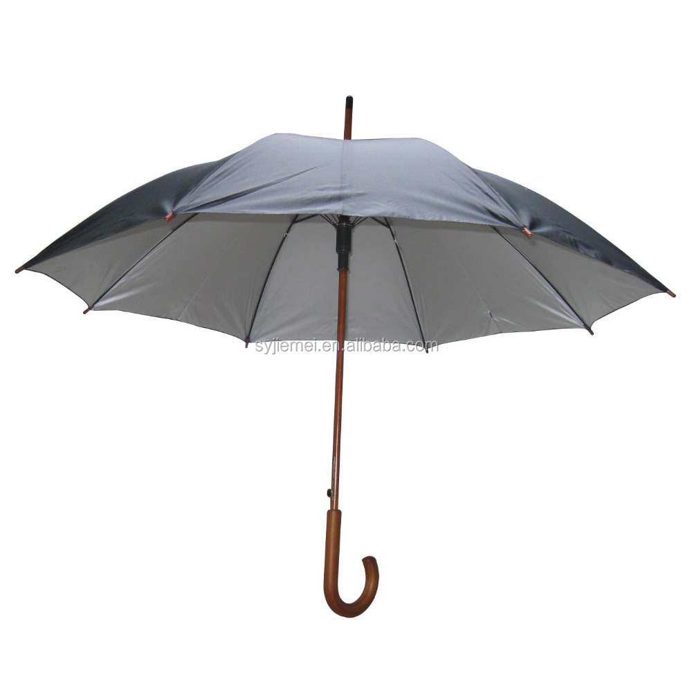 "High quality 23""*8k stick umbrella with wooden shaft and handle"