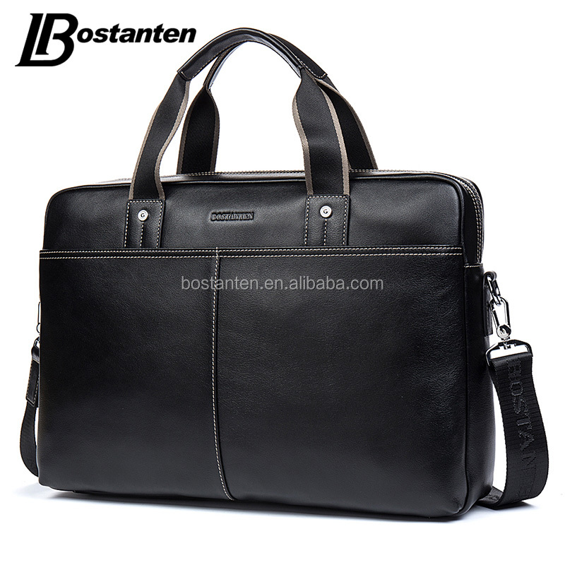 Multifunctional black custom leather business bag briefcase for man
