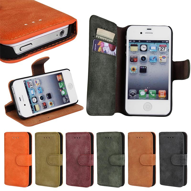 Retro Wallet Magnet Leather Case For iPhone 4/4S