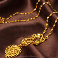 gold covered chain necklace,cheap good pure 24k gold plated necklace