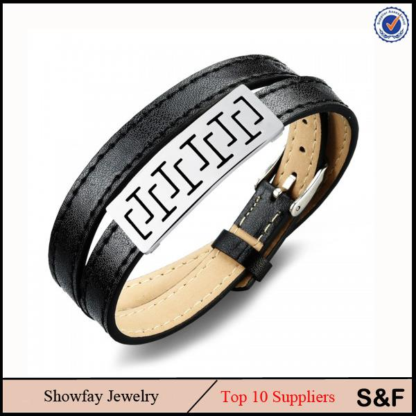 316 L Stainless Steel Jewelry Bio Magnetic Leather Bracelet