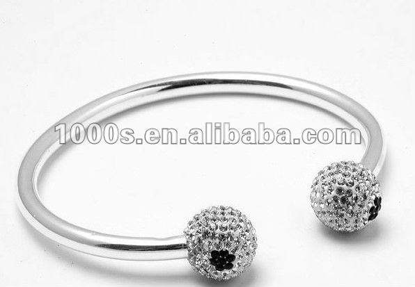 Fashion stainless steel bangle / cuff with crystal ball