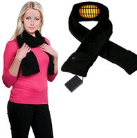 Heated scarf battery operated with black electrical warming scarf for men and women