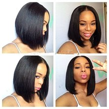 Natural color kosher short bob full lace wigs for black women