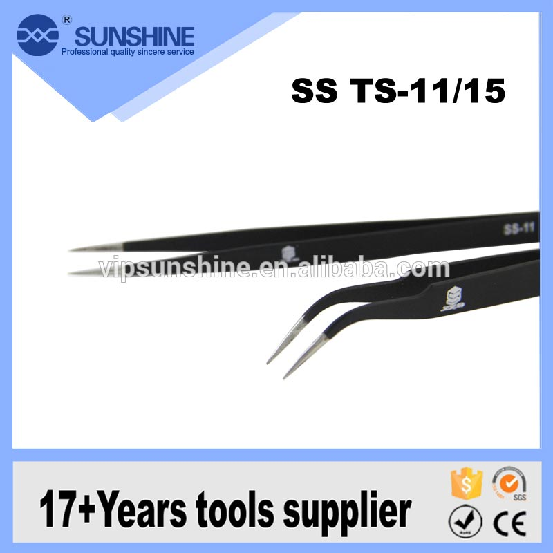 Anti-static stainless steel tweezer black nail tweezers for eyelash extension SS TS - 11 / 15