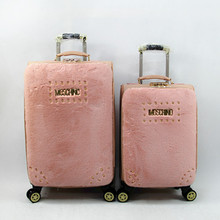 PU suitcase for woman with flexible wheels for fashion treding