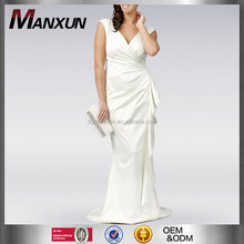 High level customization luxurious ivory satin wrap maxi wedding dress