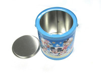 Large round tin bucket with ironl handle