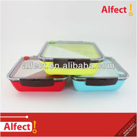 2-lock square sealed lunch box with division plate