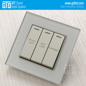 LED indicator 12V DC dry contact RCU Champagne Tempered Glass 3 Gang reset button Wall Switches
