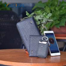 Black Short Genuine Leather Bluetooth Clutch Casual Smart Wallet For Men
