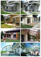 Prefabricated thermal insulated sunroom with aluminum alloy frames and glass panels