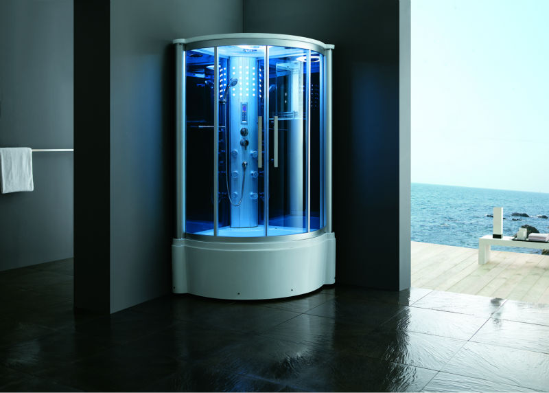 Steam shower with LED light bule galss FS-8010L with tub