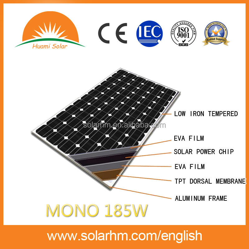 HOT SALE 185W MONO crystalline solar panel solar module with CE TUV EL test for solar system
