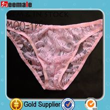 Pink Lace Sexy Underwear For Man Briefs See Through SC29