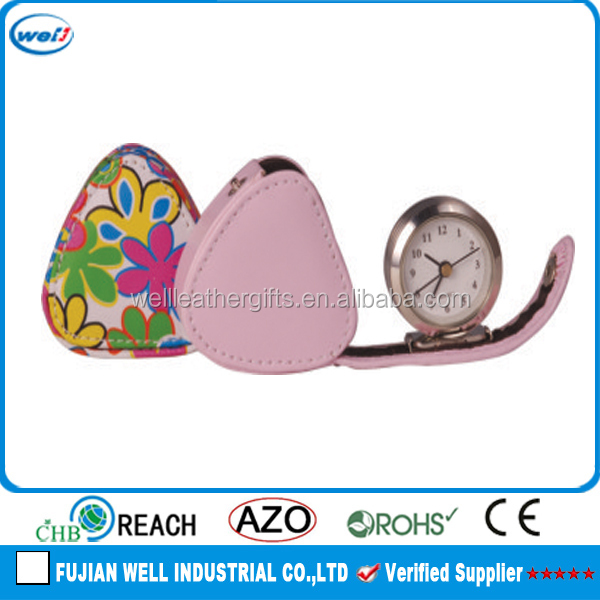 Customized Fancy PU leather alarm clock wholesale