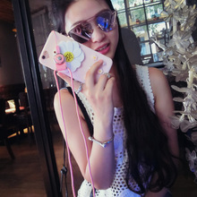 Flower with Mirror 3D camellia plant Hard Phone Cases Back coque cover For iPhone 5 5s 6 6s 6Plus