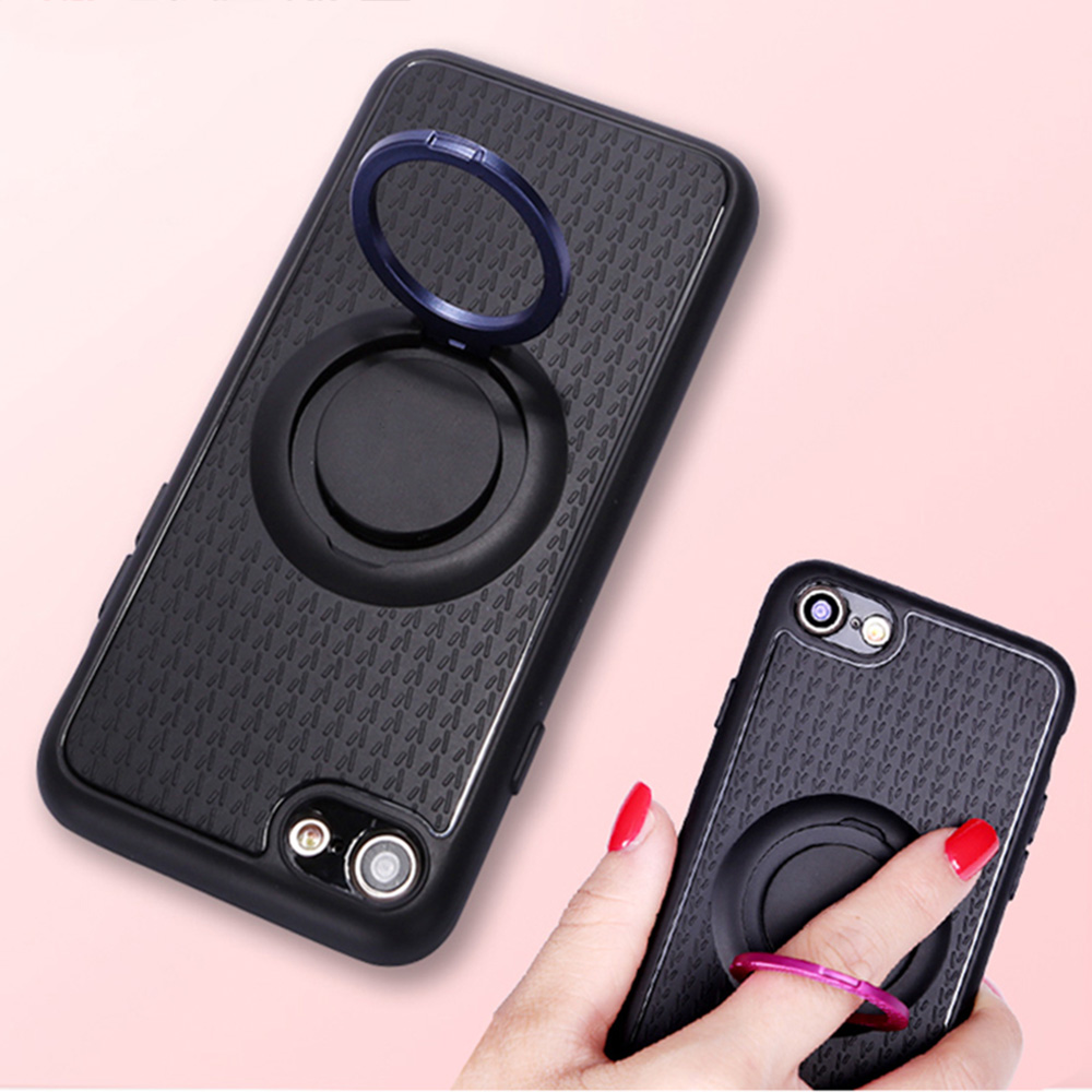 beautiful Ring kickstand matelized car holder mobile back cover phone case for iPhone 7