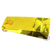 Yellow Holographic Wine Bottle Bags with String Handles Paper Gift Bag Metallic Paper Bag
