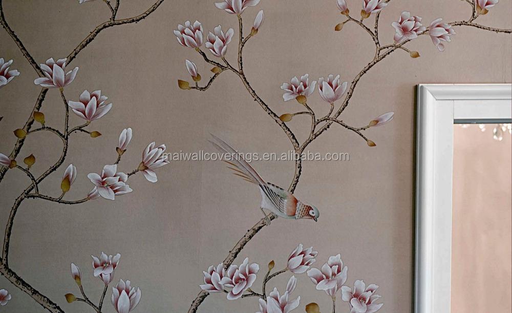 Pintado a mano de seda papel pintado para el papel pintado - Papel pintado a mano ...
