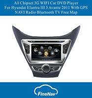 A8 Chipset 3G WIFI HD screen Car DVD Player For Hyundai Elantra III 3 Avante 2011 With GPS NAVI Radio Bluetooth TV Free Map