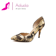 Women Pointed Toe Print Fabric Pumps Lady 10cm High Heel Shoes