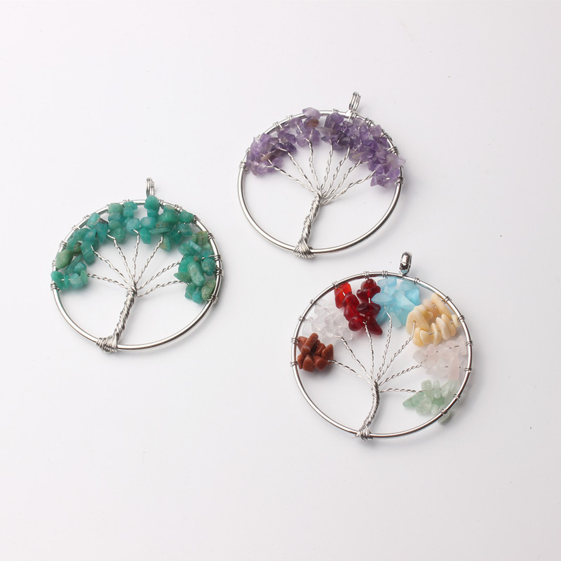 new trendy 5cm diameter handcrafted nature stone tree of life pendent keychain <strong>charms</strong> with 5 cm