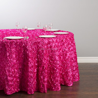 Newest hot sale elegant cheap satin rosette banquet table cloth for wedding wholesale