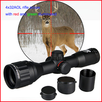 tactical airsoft 4x32AOL Rifle Scope red green illuminated hunting sight Mil Dot reticle riflescope