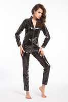 2015 Walsoninstyles Gothic Wetlook Catsuit Body Suit Black Faux Leather Zipper Jumpsuits Catwoman