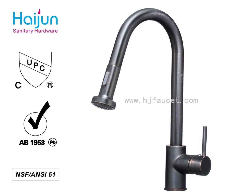 Brass Faucet ORB Single Handle Polished Upc 61-9 NSF Pull Out Kitchen Faucet With Swivel Spout