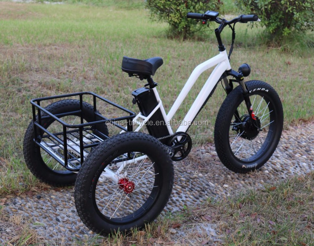 three wheel electric motor bike with rear backet