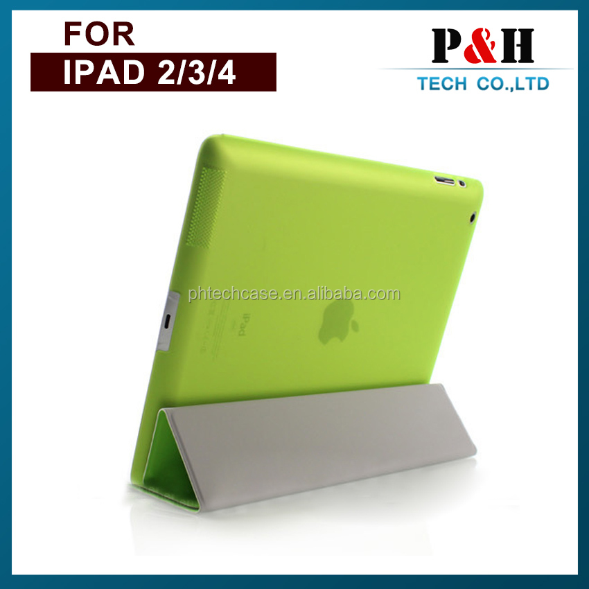 Smart cover leather four folding case for ipad air