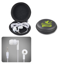 Earbud / Headphone Set in Round EVA zippered case fits most phones and media players
