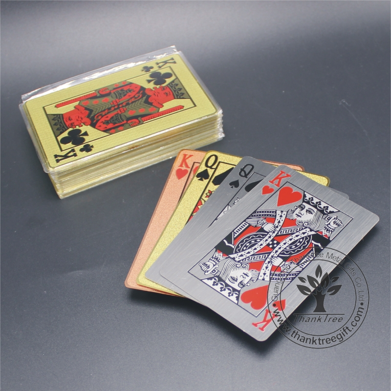 Plated 24k true gold/silver custom metal playing cards wholesale gifts