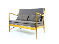 Double seat sofa long comfortable, ash wood soft seat fabric
