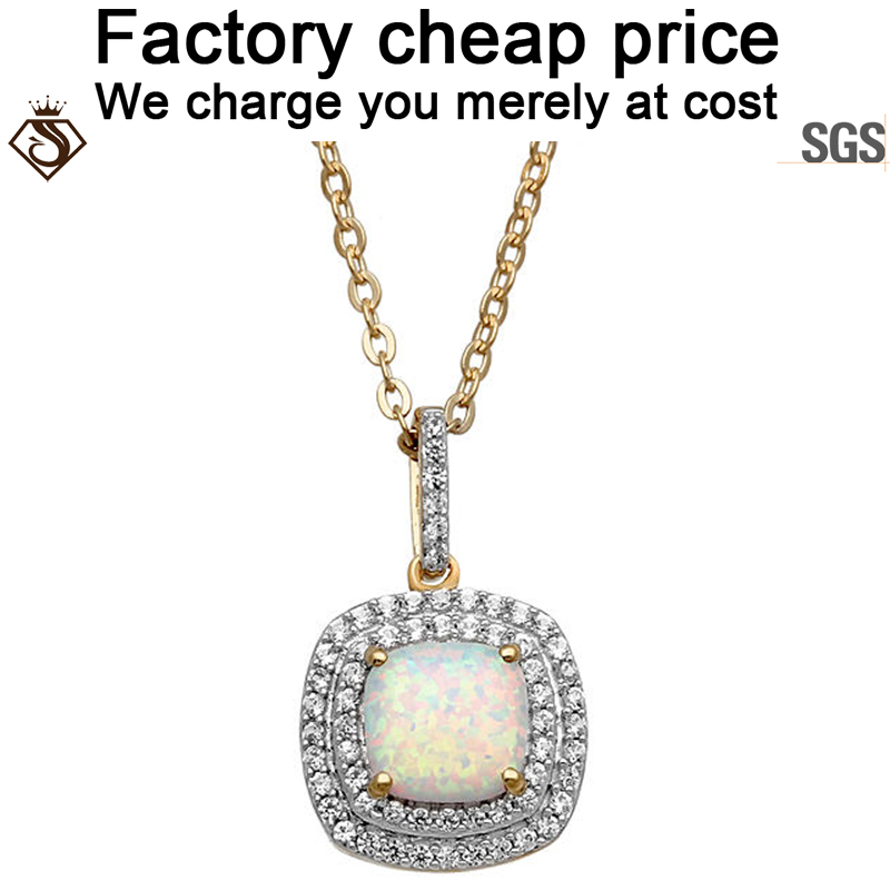 Solid 925 silver Plated Gold Chain Cushion Cut opal pendant