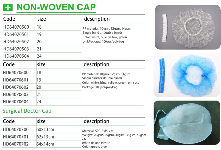 Workers Hospital Non Woven Disposable Hair Net Caps